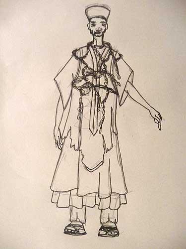 croquis-costume de la pièce Catharsis - Compagnie KS and CO, élèves du TEK Guyane