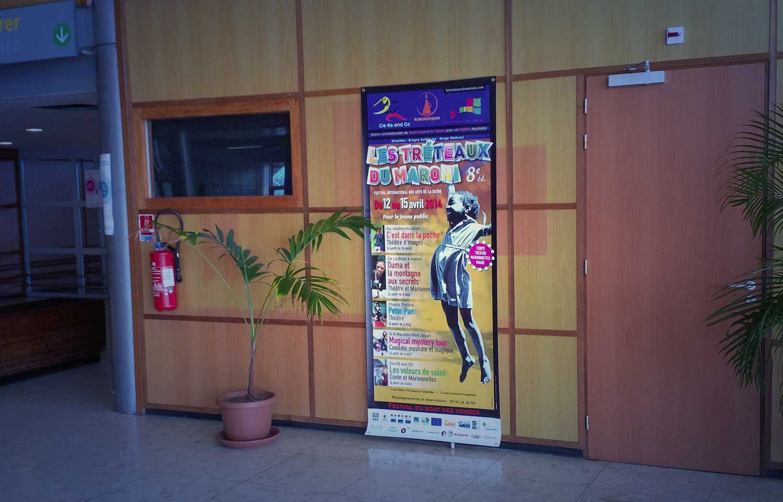 Partenariat kakémono kokolampoe - aéroport de Cayenne - Guyane